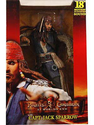 """Used, NECA Pirates of Caribbean AT WORLD'S END JACK SPARROW 18"""" Figure W/ Sound worlds for sale  Champlain"""