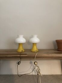 2 french vintage opaline table lamps