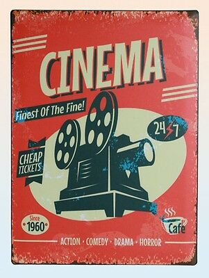 Blechschild Vintage Cinema Kino Film Hollywood Schild Retro shabby Filmfans