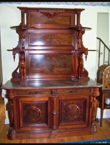 Signed Walnut Marble Top Sideboard by Thomas Brooks Brooklyn, New York