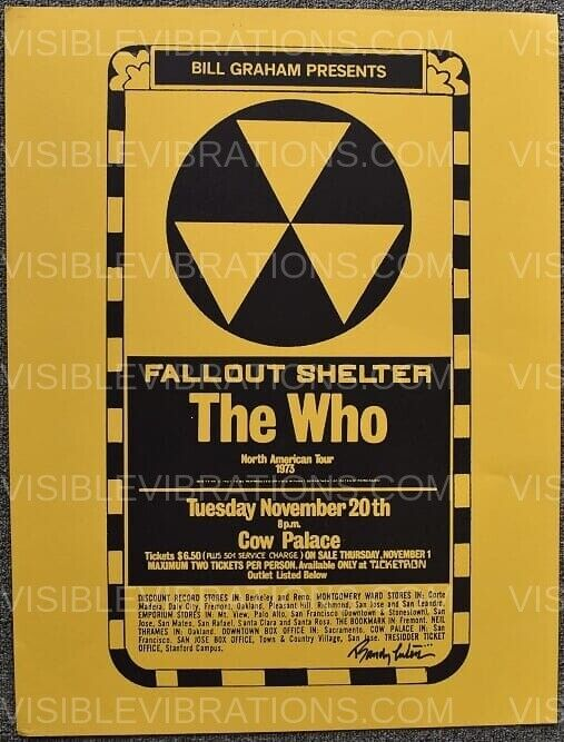 The Who Poster 1973 Cow Palace Signed Randy Tuten - Gold