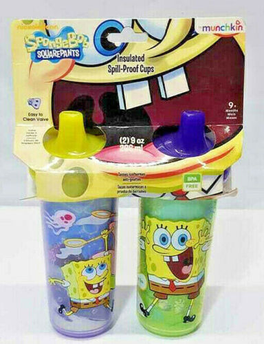Munchkin SpongeBob SquarePants Spill Proof 9 oz  2 Cups Insulated Sippy 2008 NEW