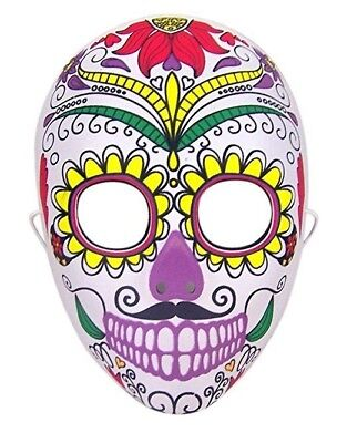 Halloween Costume Day of the Dead Sugar Skull Face Mask - Half Sugar Skull Face Halloween