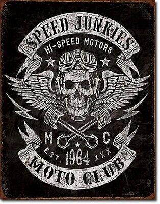 Speed Junkies MC Hot Rod Garage Rat Rods Retro Muscle Car Decor Metal Tin Sign