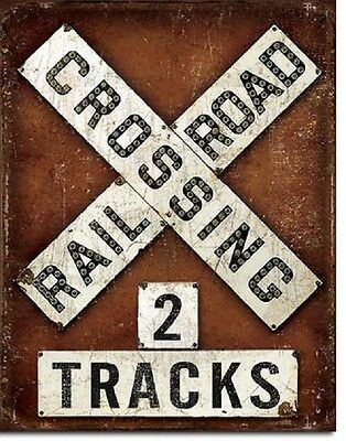Railroad Crossing 2 Track Warning Sign RR Weathered Retro Decor Metal Tin Sign