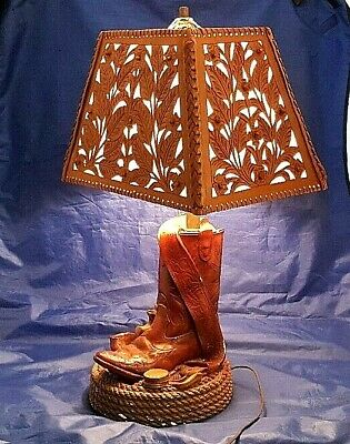 TABLE LAMP CHALKWARE COWBOY BOOT WITH TOOLED LEATHER SHADE VINTAGE WESTERN STYLE for sale  Shipping to India