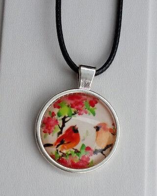 Glas Runder Anhänger (Halskette Glas Anhänger Cabochon rund 3,5 cm Vogel orange Blume rot *NEU*)