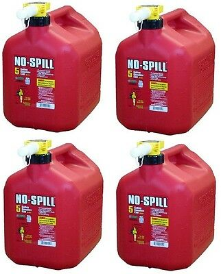 4 No Spill 1450 5 Gallon Carb Compliant User Friendly Gas Gasoline Fuel Cans