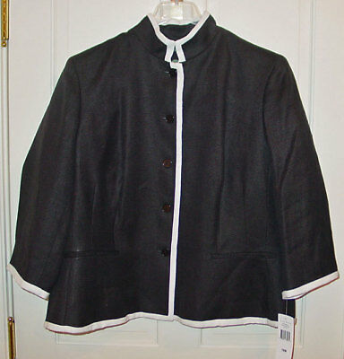 RALPH LAUREN WOMANS BLACK LINEN JACKET / BLAZER SIZE 16W NEW WITH TAGS