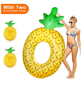 BRAND NEW Pineapple Pool Float + 2 Drink Floaties