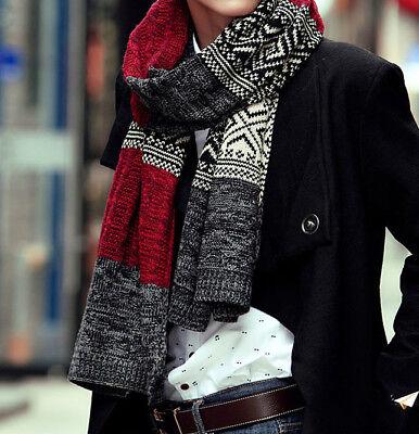 Long Winter Scarf for Man Super Soft  Faux Cashmere Acrylic Men (Faux Cashmere)