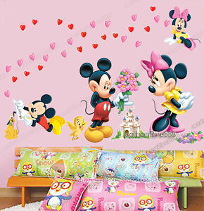 LARGE Mickey Mouse Love Minnie Wall Stickers Art Paper Nursery Girls Room Decals
