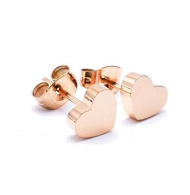 Heart Titanium Earrings - 18KGP Rose Gold Titanium Stainless Steel Heart Cut Stud Earrings 6x6mm Gift PE9