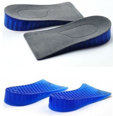 Silicone Higher Increase Height Insoles Taller Lifts Inserts Heel Shoes Pad Blue