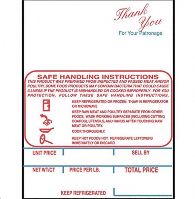 """Hobart SP-80/SP-1500 K Series Safe Handling Scale Labels Red/Blue 2 1/4 X 3"""""""