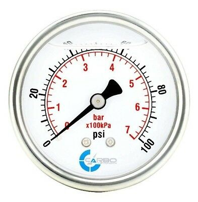 2-12 Pressure Gauge Stainless Steel Case Liquid Filled Back Mnt 0-100 Psi