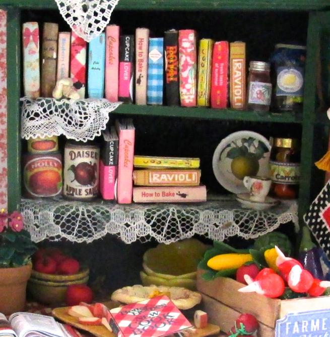 6 KITCHEN COOKBOOKS Set Miniature Dollhouse 1:12 Scale Books
