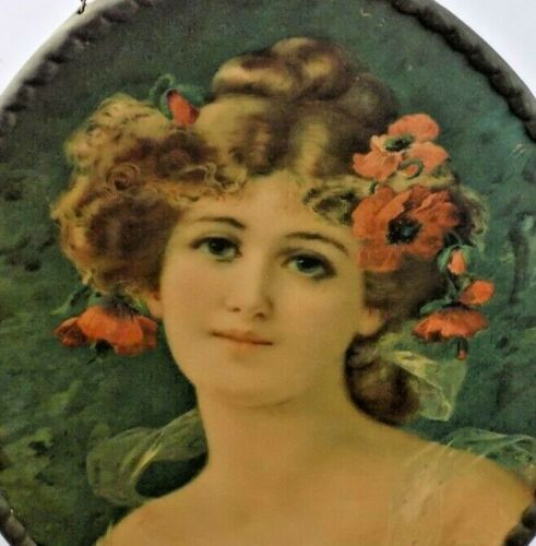 Antique German Chimney Flue Cover Beautiful Lady Flowers in Hair NO GLASS COVER