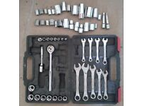 Joblot - spanners, socket set, straps, trolley, fixings - selling other items