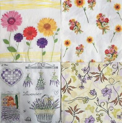 4 x Single Different Napkins Flowers Lavender for Decoupage and Crafting w4