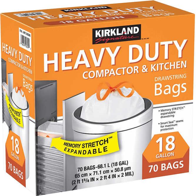 18-Gallon Compactor & Kitchen Trash Bag,Kirkland Signature,