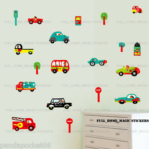 Cars Transport Kids Children Wall Stickers Art Decal Boys Bedroom Decor Nursery