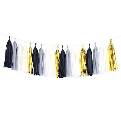 Black Gold Mylar White Gray Tassel Garland Banner Party Decoration Wedding ](Black White And Gold Wedding Decorations)