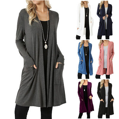 Sleeve Open Front Cardigan - Womens Long Sleeve Slouchy Cardigan Open Front Draped with Pockets Mid Length