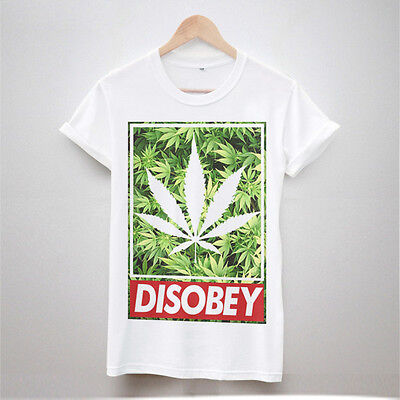 DISOBEY WEED PRINT T SHIRT TUMBLR HIPSTER WOMEN FRESH SWAG TOP MEN DOPE LEAF NEW