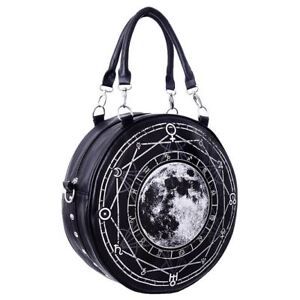 Restyle Lunar Full Moon Occult Gothic Faux Leather Round Shoulder Hand Bag