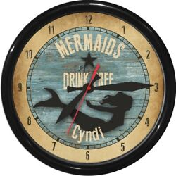 Mermaids Drink Free 12.5 Personalized Wall Clock Nautical gift