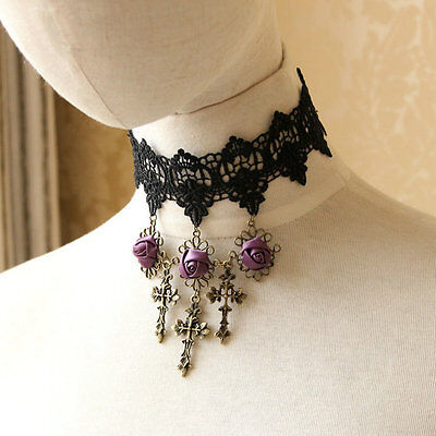 Viktorianisch Gotisches Kreuz Spitze Choker Kruzifix Halskette Halloween-Kostüm ()