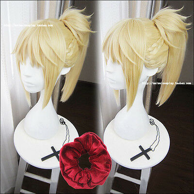 FGO Fate Apocrypha Saber Mordred 40cm Blonde Braid Ponytail Wig + Hair Ring](Blonde Ponytail Wig)