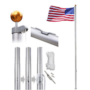 Flagpole Aluminum Kit Sectional Halyard Pole Outdoor 25ft with American Flag New