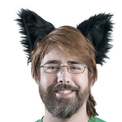 Dog Ears Halloween (PAWSTAR Dog Ears Headband - Furry Fox Wolf Halloween Costume Black)