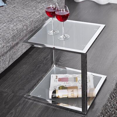 Beistelltisch QUAT Wartezimmertisch Couchtisch Glas Gestell Chrom 40x40cm Neu ()
