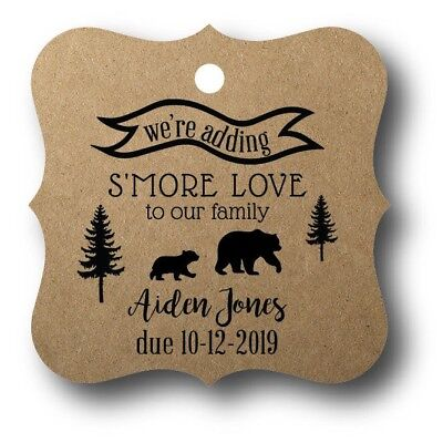 24 We're adding S'more Love to our family - Baby Shower Favor Tag Personalized