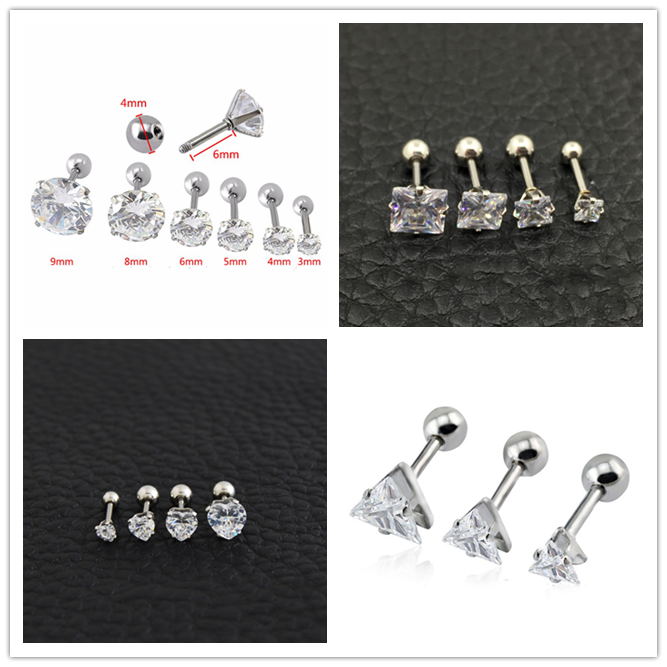 CZ Gem Barbell Bar Earring Surgical Steel Body Helix Tragus Lobe Ear Piercing