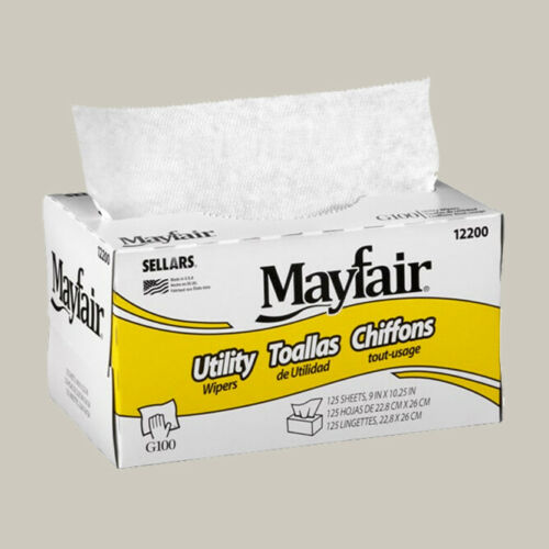 LOT of 18 boxes- Mayfair G100 Utility Wipers, 125/box - 10244844