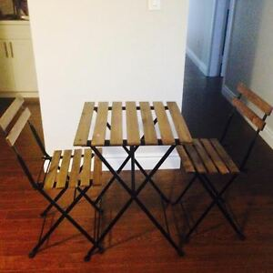 Small Tarno Ikea wood patio table and 2 chairs