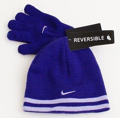 Nike Reversible Purple Knit Beanie & Stretch Gloves Girl's 4-6X  NWT