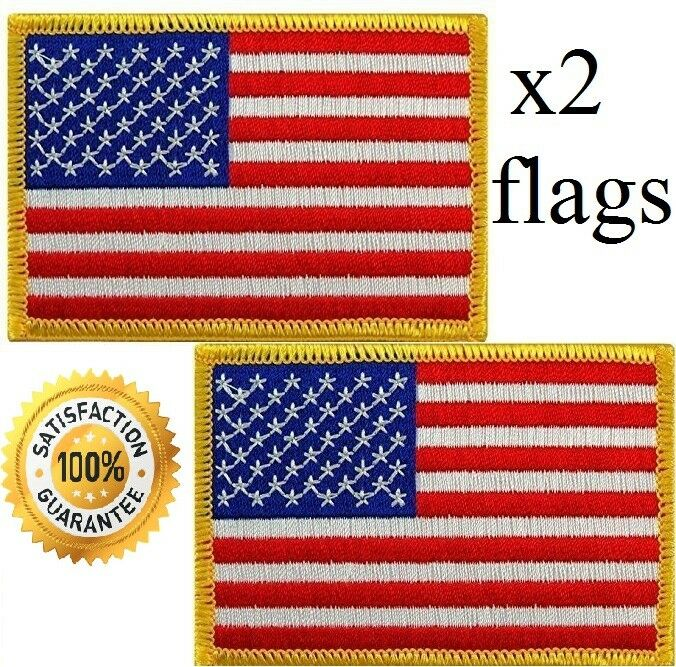 USA AMERICAN FLAG EMBROIDERED PATCH IRON-ON / SEW-ON GOLD BO