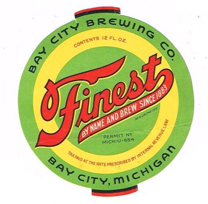 Unused Green 1930s U-Permit MICHIGAN Bay City FINEST BEER 12oz Label