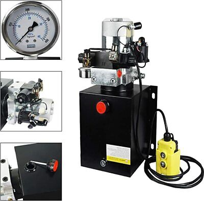 10 Quart Double Acting 12v Hydraulic Pump 3200 Psi With Hydraulic Pressure Gauge