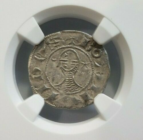 Antioch Bohemond III NGC AU 53 Silver Denier Knight Templar Crusader Cross