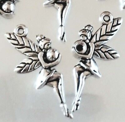 12 Fairy Charms Antique Silver Pewter fairies Angel Charm 25mm - Angel Charms