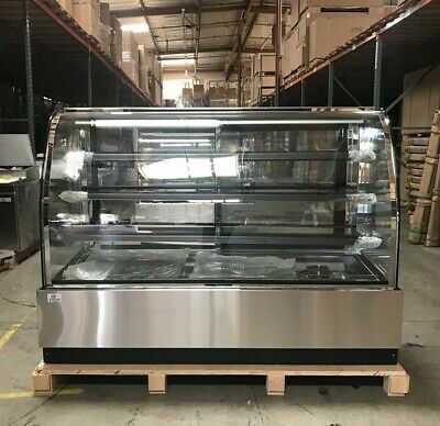 Deli Case New 72 Show Curved Glass Refrigerator Display Bakery Pastry Meat