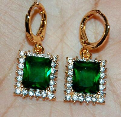 10K Yellow Gold Filled Earrings Hooks Huggies Hoops CZ Green Emerald Gemstones Emerald Huggies Earrings