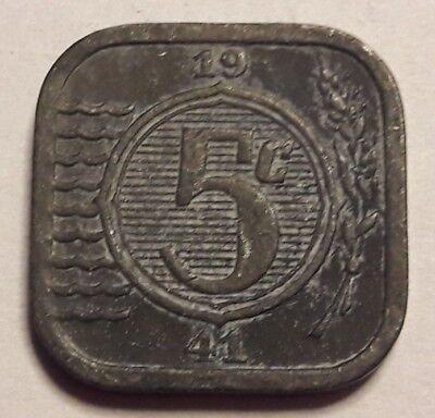 1941 Nederland The Netherlands 5 cent, stuiver 1941. Zink. Wilhelmina.  Pays bas