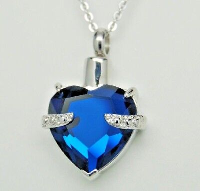 Cremation Jewelry, Sapphire Blue CZ Heart Urn Necklace || September Birthstone